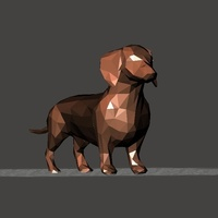Small Dachshund - low polygon version 3D Printing 83834