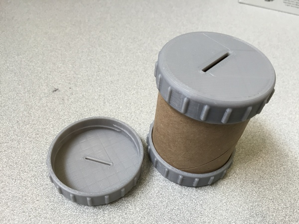 Medium Paper Tube Coin Bank Caps 3D Printing 83992