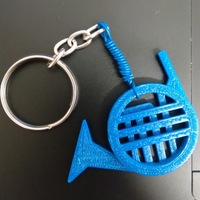 Small Blue French Horn 3D Printing 84576