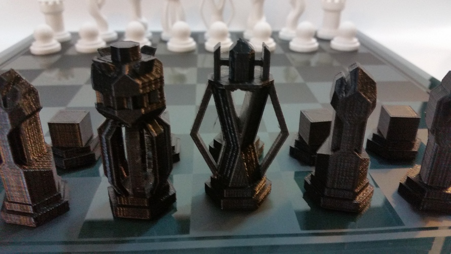 Chess Set - Round vs Blocky 3D Print 85050