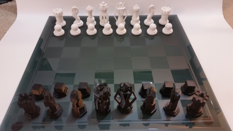 Chess Set - Round vs Blocky 3D Print 85051