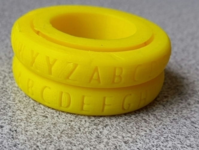 Caesar Cypher Decoder Ring 3D Print 85108