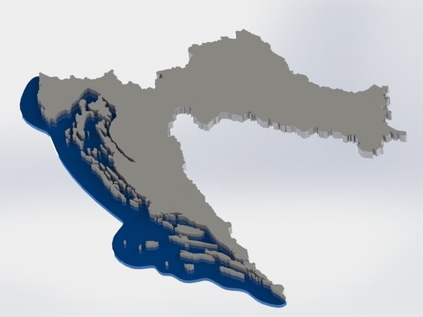 Medium map of CROATIA 3D Printing 85422