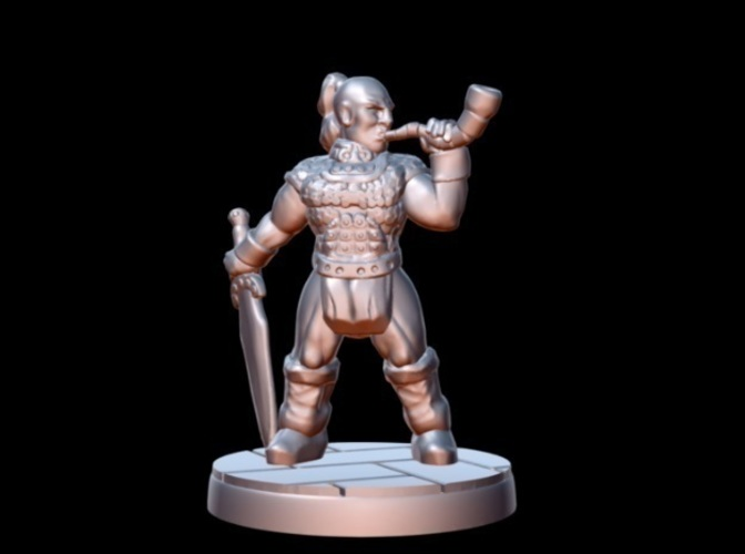Barbarian Horn Bearer (15mm scale) 3D Print 86183