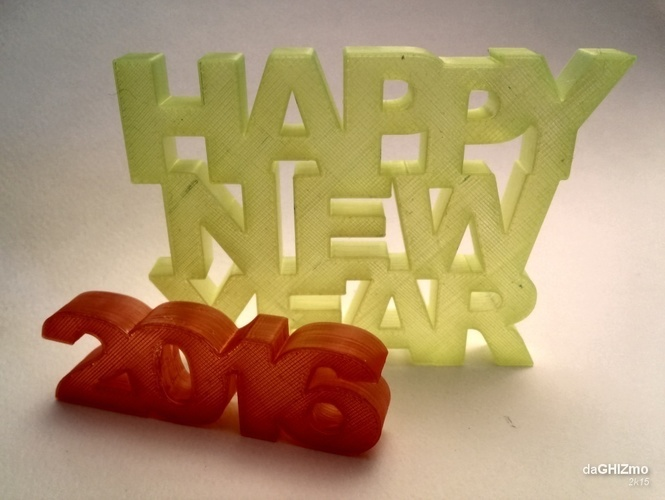 HAPPY NEW YEAR SIGN 3D Print 88105