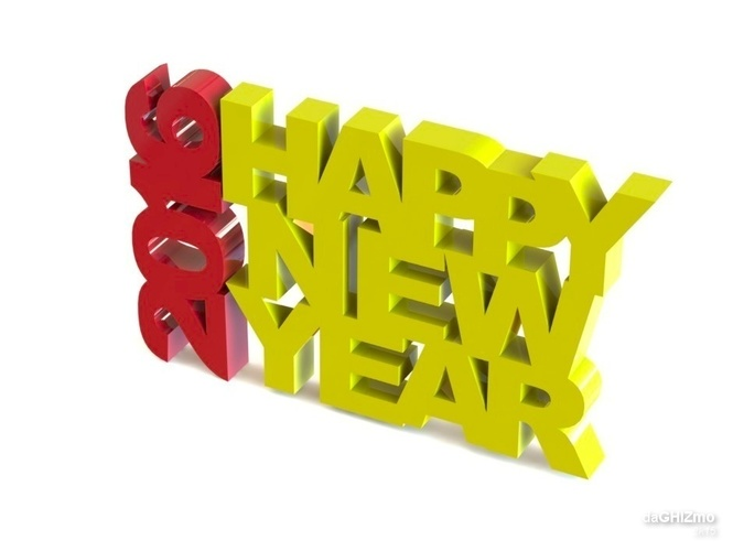 HAPPY NEW YEAR SIGN 3D Print 88108