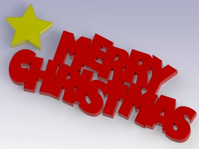 Merry Christmas Sign 3D Print 88315