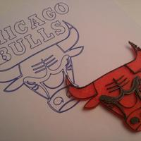 Small Chicago Bulls Logo 3D Printing 88347
