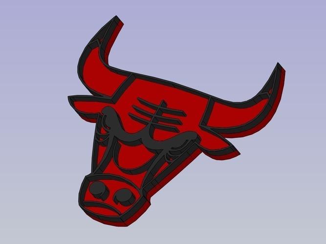 chicago bulls logo 3d print 88348