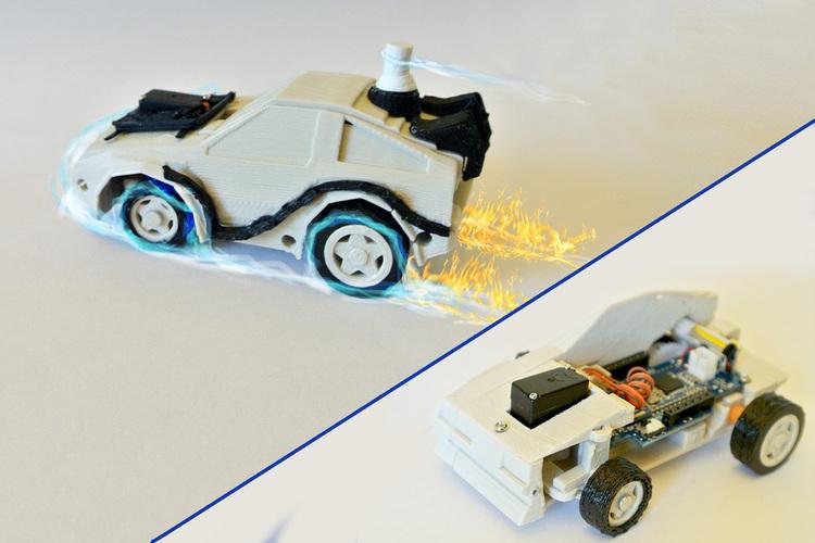 3D Printed DeLorean BackToFuture RC Car w/ Arduino - 3DRacers by