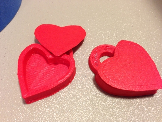 Heart Locket Slic3r Friendly 3D Print 88409