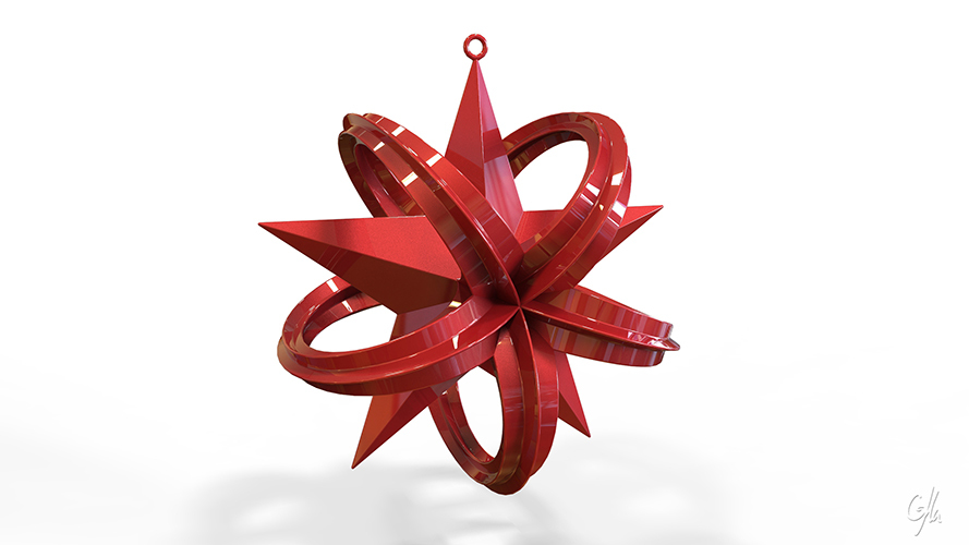 Wrapped Star Christmas Ornament (Large)                  3D Print 8944