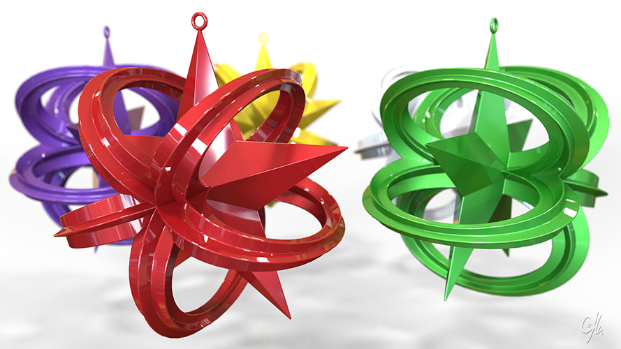 Wrapped Star Christmas Ornament (Large)                  3D Print 8946