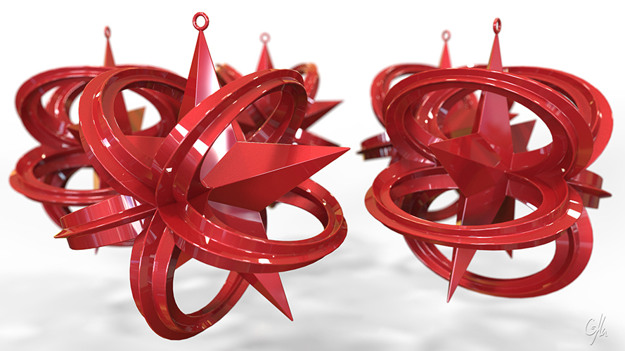 Wrapped Star Christmas Ornament (Large)                  3D Print 8947