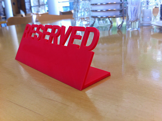 Table Reserved sign 3D Print 89845