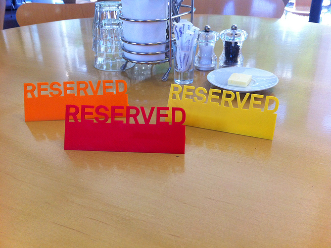 Table Reserved sign 3D Print 89847