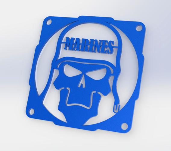 Skull Marine fan grill 120mm  3D Print 89996