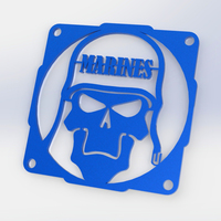 Small Skull Marine fan grill 120mm  3D Printing 89996