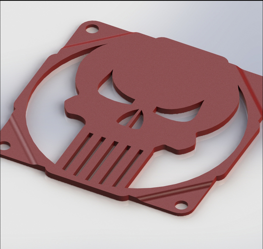 The punisher skull fan grill 120mm - griglia ventola teschio 3D Print 90000