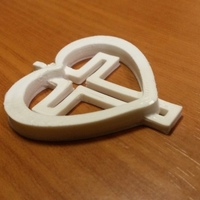Small Cross In Heart Pendant 3D Printing 90254