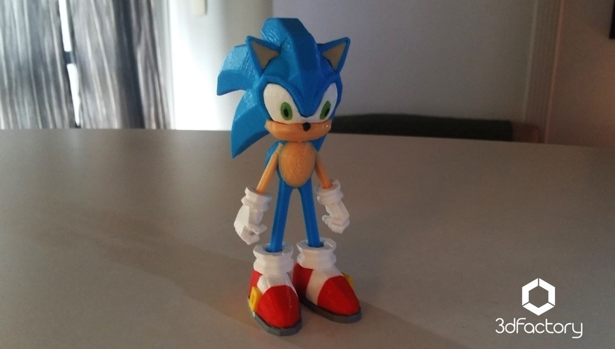 Sonic - 3dPrint - 3dFactory 3dPrintable ZERO Support 3D Print 91533