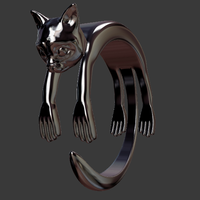 Small cat shape ring 3D Printing 92077