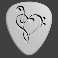 Small Guitar Pick - Heart Shaped Music Keys 3D Printing 92188