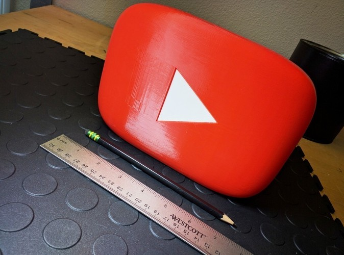 Giant YouTube Button - scaleable, prints w/o support 3D Print 92930
