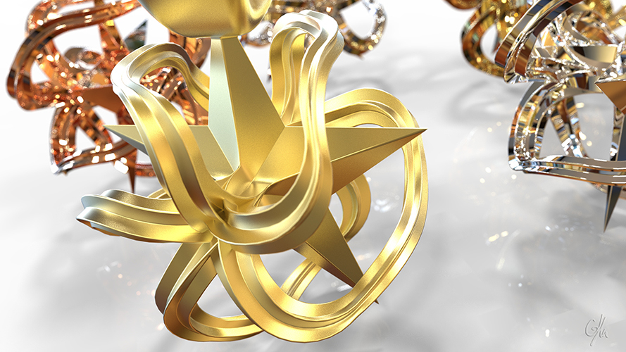 Wavy Pointed Stars Christmas Necklace Pendant  3D Print 9317