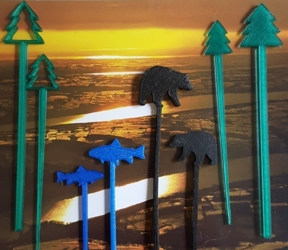 Great Outdoors Swizzle Sticks and Picks 3D Print 93318