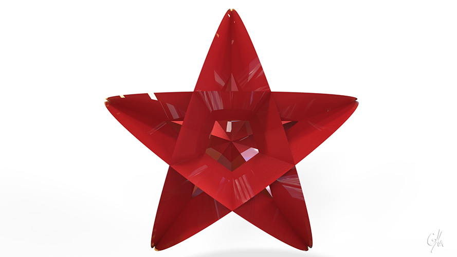 Star Christmas Tree Ornament (Small)         3D Print 9339