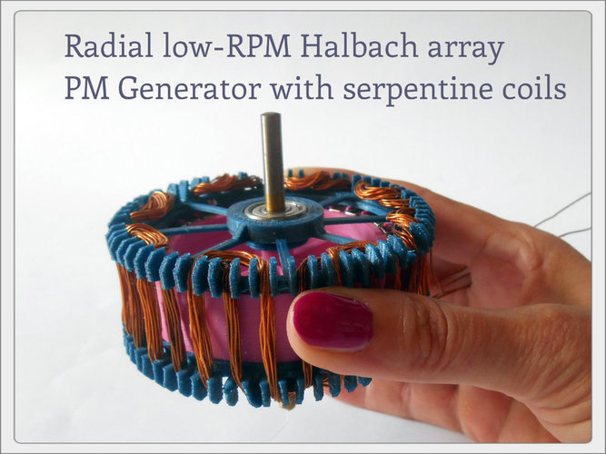 Radial low-RPM Halbach array PM Generator with serpentine coils. 3D Print 93569