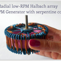 Small Radial low-RPM Halbach array PM Generator with serpentine coils. 3D Printing 93569
