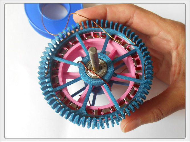 Radial low-RPM Halbach array PM Generator with serpentine coils. 3D Print 93571