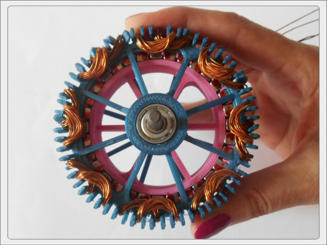 Radial low-RPM Halbach array PM Generator with serpentine coils. 3D Print 93572