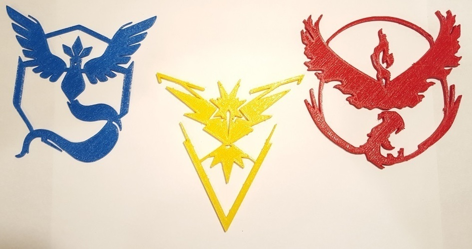 Pokemon Go Team Decals and Badges 3D Print 93750