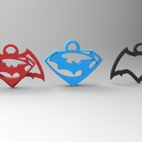 Small batman vs superman keychain/necklace/earrings 3D Printing 95289