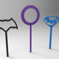 Small batman vs superman bubble wands 3D Printing 95312