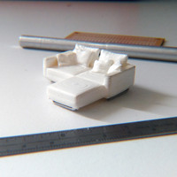 Small Easy to print L Shaped Couch Sofa 3D Printing 95445