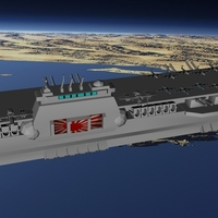 Small Imperial Japanese Orbital Navy - Aircraft Carrier Hiryu with pla 3D Printing 96300
