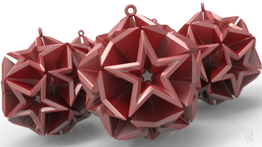 Geometric Stars Christmas Tree Ornament (Large)      3D Print 9663