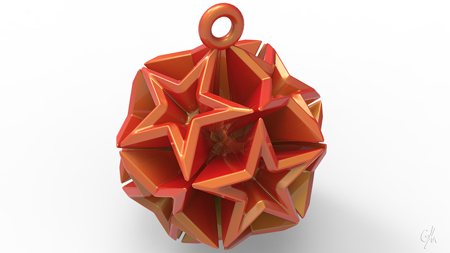 Geometric Stars Christmas Tree Ornament (Large)      3D Print 9666