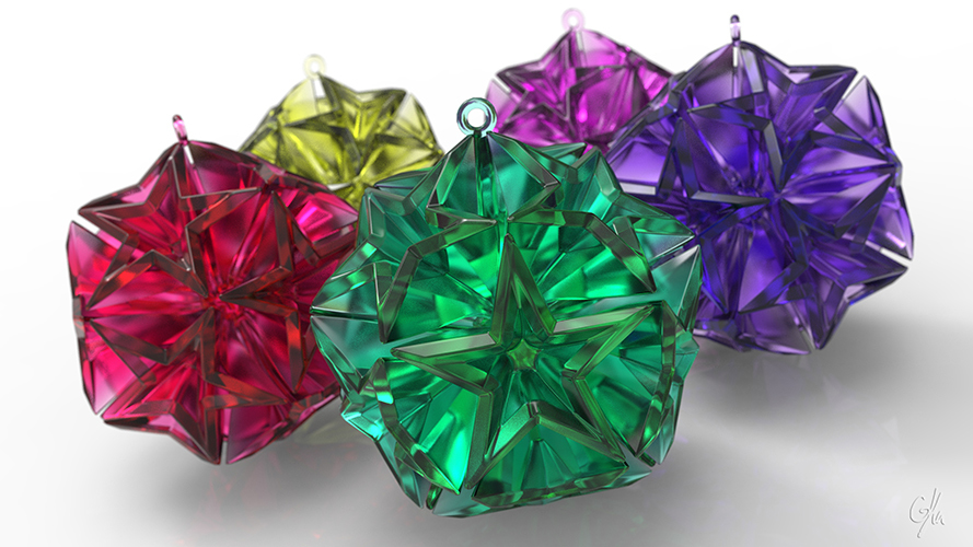 Geometric Stars Christmas Tree Ornament (Large)      3D Print 9667