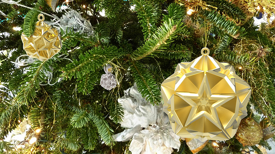 Geometric Stars Christmas Tree Ornament (Large)      3D Print 9669