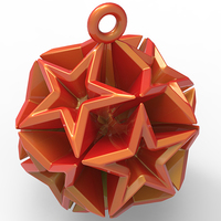 Small Geometric Stars Christmas Tree Ornament (Small)   3D Printing 9672