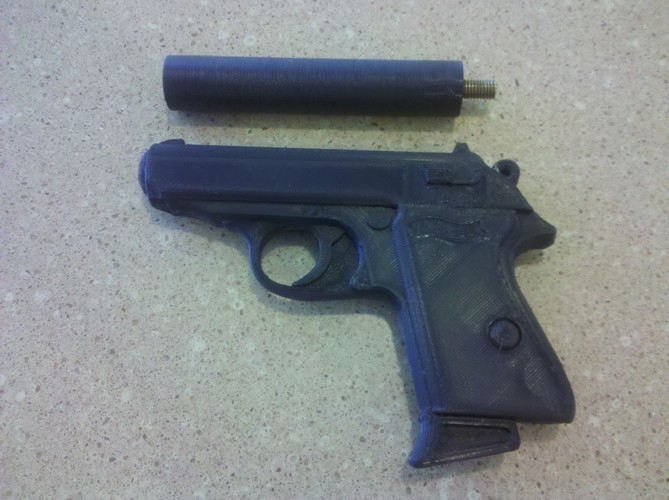 WALTHER PPK Silencer & FULL MODEL 3D Print 96943