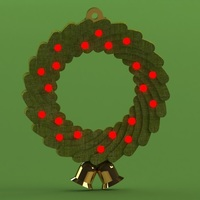 Small Christmas Wreath Ornament 5mm LED 3D Printing 96972