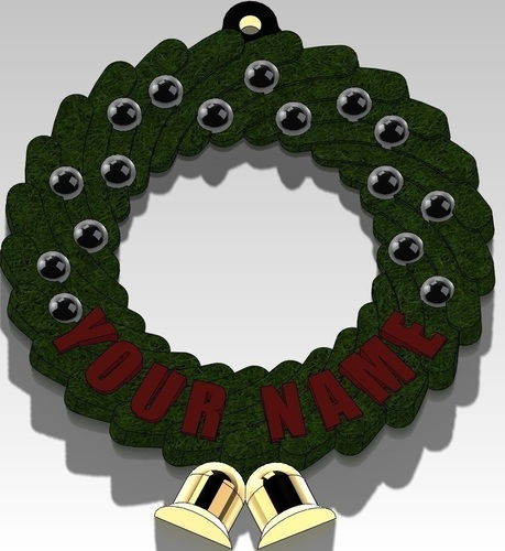Christmas Wreath Ornament (Add your Name) 3D Print 96974