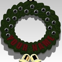 Small Christmas Wreath Ornament (Add your Name) 3D Printing 96974