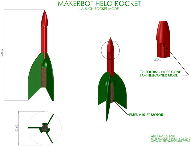Helo model Rocket & Launch Pad (Estes Style) 3D Print 97048